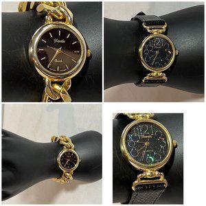 Xanadu Women's Gold Black Wrist Watches Pair of 2